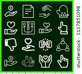 set of 16 hand outline icons... | Shutterstock . vector #1117851098