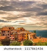 typical italian houses on... | Shutterstock . vector #1117861436