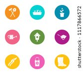 suburban place icons set. flat... | Shutterstock .eps vector #1117866572