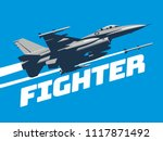 military plane fired a missile. ... | Shutterstock .eps vector #1117871492