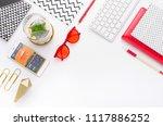 top view tablet  smartphone ...   Shutterstock . vector #1117886252