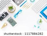 top view tablet  smartphone ...   Shutterstock . vector #1117886282
