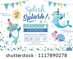 kids birthday party under the... | Shutterstock .eps vector #1117890278