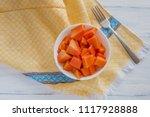 bowl of papaya fruit and lemon   Shutterstock . vector #1117928888