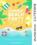 template of summer party poster ... | Shutterstock .eps vector #1117935848