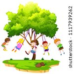 children sitting on tree swing... | Shutterstock .eps vector #1117939262