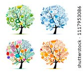 four seasons  floral colorful... | Shutterstock .eps vector #1117953086
