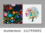 greeting card with floral tree  ... | Shutterstock .eps vector #1117953092