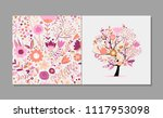 greeting card with floral tree  ... | Shutterstock .eps vector #1117953098