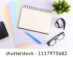 top view blank notebook with...   Shutterstock . vector #1117975682