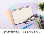 top view blank notebook with... | Shutterstock . vector #1117975718