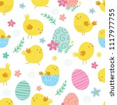 seamless cute chickens and eggs ... | Shutterstock .eps vector #1117977755