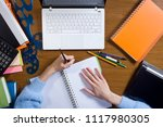female hands are working on a...   Shutterstock . vector #1117980305