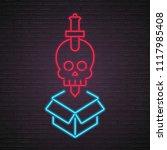 skull sword icon neon light... | Shutterstock .eps vector #1117985408