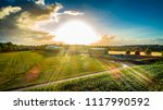 biogas plant and corn field... | Shutterstock . vector #1117990592
