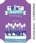 happy birthday card design.... | Shutterstock .eps vector #1118004866