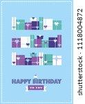 happy birthday card design.... | Shutterstock .eps vector #1118004872