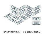 one hundred dollar banknote in...   Shutterstock .eps vector #1118005052