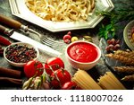 pasta in a composition with... | Shutterstock . vector #1118007026
