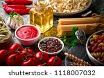 pasta in a composition with... | Shutterstock . vector #1118007032