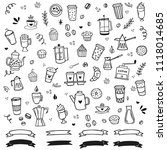 hand drawn coffee clipart... | Shutterstock .eps vector #1118014685