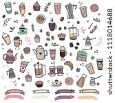 hand drawn coffee clipart... | Shutterstock .eps vector #1118014688
