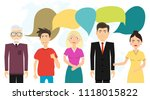people communicate with each... | Shutterstock .eps vector #1118015822