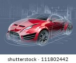 sports car sketch. original car ...   Shutterstock . vector #111802442