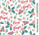 merry and bright lettering ... | Shutterstock .eps vector #1118039186