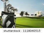 golf drivers  putters on a golf ...   Shutterstock . vector #1118040515