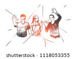 hand drawn people wearing... | Shutterstock .eps vector #1118053355