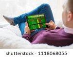 man using online sports betting ...   Shutterstock . vector #1118068055
