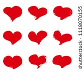 set of red ink grunge hearts on ...   Shutterstock .eps vector #1118070155