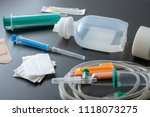 medical syringe and infusion... | Shutterstock . vector #1118073275