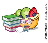 student with book fruit tart... | Shutterstock .eps vector #1118079872
