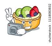 photographer fruit tart mascot... | Shutterstock .eps vector #1118083832