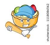 playing baseball fruit tart... | Shutterstock .eps vector #1118086562