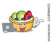 with laptop fruit tart... | Shutterstock .eps vector #1118086652