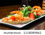 delicious bruschetta. bread... | Shutterstock . vector #1118089862