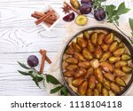 plum and poppy seed pie before... | Shutterstock . vector #1118104118