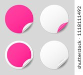 blank pink round stickers with... | Shutterstock .eps vector #1118111492