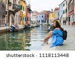 beautiful brunette girl in blue ... | Shutterstock . vector #1118113448