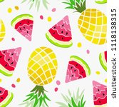 watermelon and paneapple... | Shutterstock .eps vector #1118138315