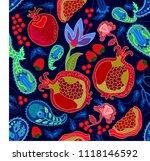 summer fruit garden. seamless... | Shutterstock .eps vector #1118146592