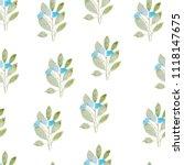 pattern  watercolor flowers ... | Shutterstock . vector #1118147675