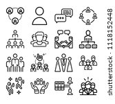 set of 16 group outline icons... | Shutterstock . vector #1118152448