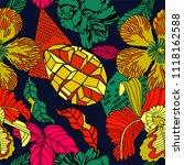 tropical pattern design  mango... | Shutterstock .eps vector #1118162588