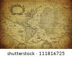 vintage map of the world 1635 | Shutterstock . vector #111816725