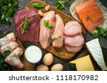 animal protein sources  meat ... | Shutterstock . vector #1118170982