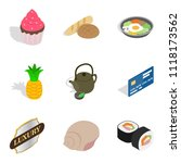 cupcake icons set. isometric... | Shutterstock . vector #1118173562